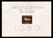 """Německo 1936, """"Braune Band"""" nezoubkovaný aršík, významná rarita, je známo je několik kusů"""