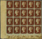 GB 1841, rohový 20-blok čistých ONE PENNY RED, v této velikosti UNIKÁT; nález z Orkenjských ostrovů