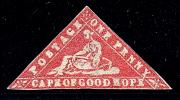 """Mys Dobré Naděje 1861, """"wood-block"""" One Penny karmínová, nepoužitá; významná rarita"""
