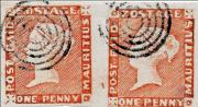 "Mauritius 1848-1859, 2 - páska One Penny Red ""intermediate imp."", ex. Ferrary"