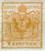 Rakousko 1850, 1Kr nepoužitá, I.typ, první známka Rakouska a tedy i naše
