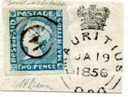 """Mauritius 1848-1859, Two Pence Blue, """"intermediate imp."""", jeden z nejkvalitnějších exemplářů vůbec, ex. Burrus"""