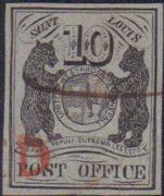 """USA 1847, St. Louis """"blue bear"""", tzv. """"poštmistrovské provizorium; ikonické vydání americké klasiky"""