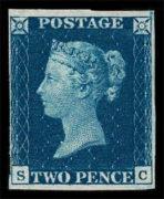 GB 1840, Two Pence Blue, poštovně nepoužitá 2. známka světa, velmi vzácná