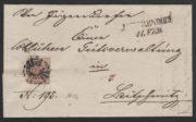 Rakousko 1850, dopis s němým razítkem Jägerndorf (Krnov), jedno z nejvzácnějších razítek celého Rakouska
