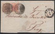 Rakousko 1850, dopis s dvoubarevnou frankaturou a němým razítkem Znaim, extrémně vzácné!