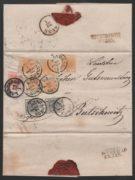 Rakousko 1850, dopis vyplacený atypickou násobnou tříbarevnou frankaturou