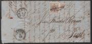 Rakousko 1850, dopis do Pešti vyplacený 1x celou a 1x půlenou 6ti krejcarovou známkou (celkem 9 kr.), je známo jen několik takových půlených frankatur a patří k nejvzácnějším z celého Rakouska