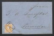 Rakousko 1858, první den vydání II. emise, vyplacený známkou 2 kr. typ 1, s raz. 1.11. 1858, významná rarita
