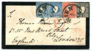 Rakousko 1858, 3-barevná frankatura II. emise vzácně s odstřiženým zoubkováním na všech stranách, UNIKÁT!