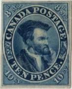 """Kanada 1852, 10P """"J. Cartier"""", neupotřebená, významná rarita, podobný kus je v British Royal Collection"""