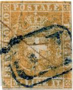 """Toskánsko 1860, """"Toskánská 3-lira"""", jedna z nejvzácnějších známek Evropy"""