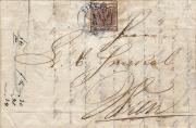 Rakousko , dopis z Tirnau se 6kr, z 1. dne (1.6.1850), ze slovenského území unikát!